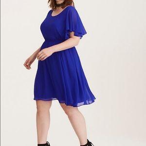 Torrid cobalt blue flutter sleeve part dress 2x
